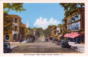 Granby, rue Principale, vers 1935. Carte postale, PECO, Ottawa.
