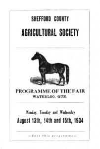 Programme de l'exposition agricole du comté de Shefford