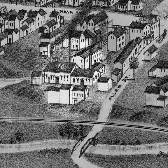 Les installations  de la fonderie Allen, Taylor & Co rue de la Fonderie, en 1886. (Bird's eye view, Waterloo, 1881, auteur inconnu)