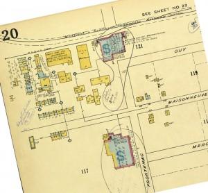 Les installations de l'usine de bombes fumigènes, de la rue Guy, toujours en place, en 1950.