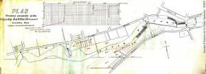 Ce plan de 1909, tracé par l'arpenteur A.W. Mitchell, montre les cinq barrages qui permettaient d'utiliser efficacement le pouvoir généré par la Yamaska. Quant au graphique, il illustre l'importante dénivellation de la rivière entre le premier et le dernier de ces barrages. (SHHY, fonds Robert Desrochers)