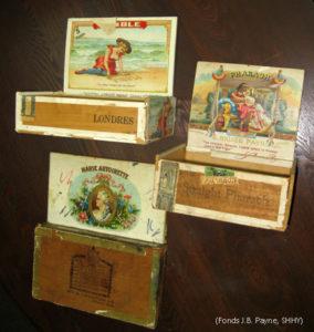 Les cigares les plus vendus par J.Bruce Payne: le Pharaoh, le Marie-Antoinette et le Pebble (le moins cher). (Fonds J.Bruce Payne, SHHY)
