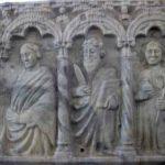 Selon toute vraisemblance, les personnages à la droite du Christ sont : saint Jean, saint Barthélemy et l'archange Raphaël. (Coll. Société d'histoire de la Haute-Yamaska)